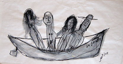 "Photo of Lawrence Ferlinghetti's drawing ""San Jose Restaurant Drawing."" Image depicts a boat, named La Strata, with four figures inside."