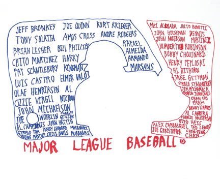 """Photo of Eduardo Gomez's drawing """"(Inter) National Pastime."""" Artwork depicts an outline of a baseball player about to swing, surrounded by the names of international players. The player image is made out of the edges of an outline around two sets of names, one in red and one in blue. """"Major League Baseball"""" is written across the bottom in red."""