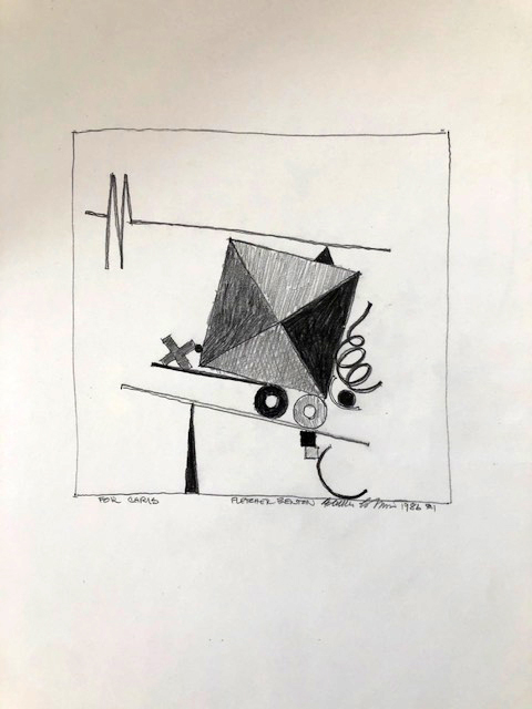 """Photo of the Fletcher Benton drawing """"For Chris."""" Image depicts a precariously balanced array of shapes including an x, dots, o's, triangles, a squiggle and a large square separated into triangles among others."""