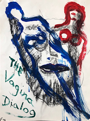 "Photo of Lawrence Ferlinghetti's painting ""The Vagina Dialogue."" Image depicts the outlines of two female figures one red, one blue overlapping a face in black outline and shading. ""The Vagina Dialogue"" is written in green paint on the lower left side."