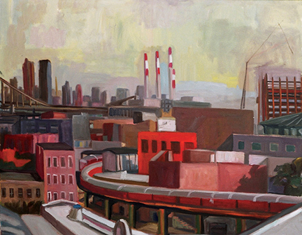 """Photo of Michael Kovner's oil painting """"Queens View of Train No. 7."""" Image depicts a cityscape with promenent red and white smokestacks in the center and an elevated train curving around a bend in the foreground."""
