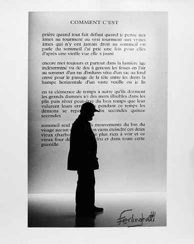 "Photo of Chris Felver's gelatin silver print ""Beckett Exhibition - Paris."" Image depicts the silhouette of Lawrence Ferlinghetti in front of exhibit text. Signed by Lawrence Ferlinghetti."