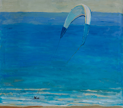"""Photo of Michael Kovner's oil painting """"Blue Surfer."""" Image depicts a beach scene with blue water and kitesurfer with a blue and white kite."""
