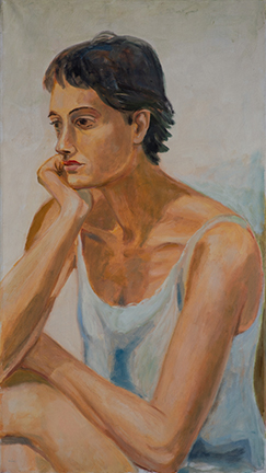 """Photo of Michael Kovner's oil painting """"Dafna."""" Image depicts a woman in a white tank top with her chin on her hand, arms resting on crossed legs."""
