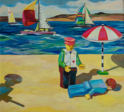 """Photo of Michael Kovner's oil painting """"Lego 1."""" Image depicts a beach scene with a lego man lying face down on the beach near a beach umbrella and another lego person in a red hat and a white vest with a red cross. In the background are sailboats in the water."""