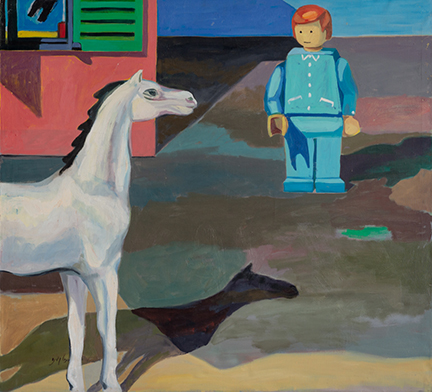 """Photo of Michael Kovner's oil painting """"Lego and Horse."""" Image depicts a lego man near a white horse and the corner of a pink building with green shutters."""