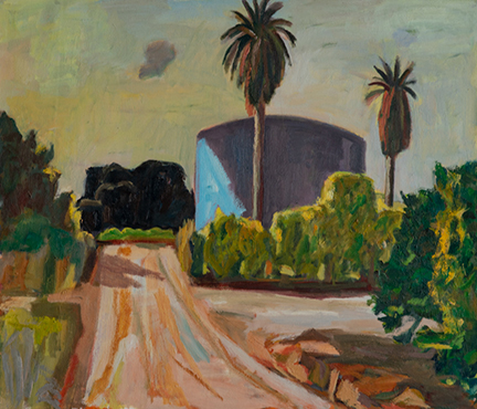 """Photo of Michael Kovner's oil painting """"Mezer."""" Image depicts a dirt road, palm trees and a large cylindrical structure."""