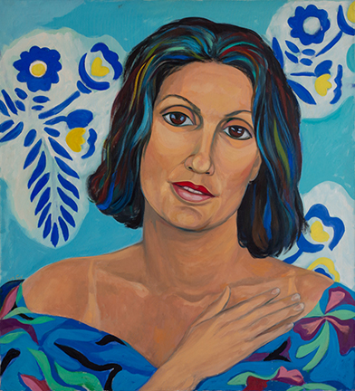 """Photo of Michael Kovner's oil painting """"Michal."""" Image depicts a portrait of a woman with her hand by her shoulder. The woman wears a blue top with a flower print and stands in front of a blue wall with a flower design."""
