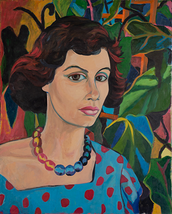 """Photo of Michael Kovner's oil painting """"Mimi."""" Image depicts a portrait of a woman in a blue top with a red polka dot pattern. She wears a necklace of blue and red beads and stands in front of a green leafy background."""