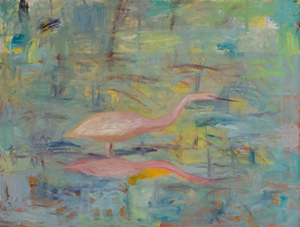 """Photo of Michael Kovner's oil painting """"Pink Heron."""" Image depicts a pink bird standing in water, with a reflection."""