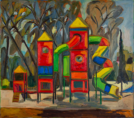"""Photo of Michael Kovner's oil painting """"Playgound in Nachshon."""" Image depicts a tall 3 tower play structure in primary colors with a twisty tube slide in front of trees."""