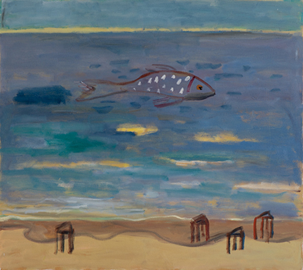 """Photo of Michael Kovner's oil painting """"Purple Fish."""" Image depicts a beach scene with a large purple fish with white spots in the water."""