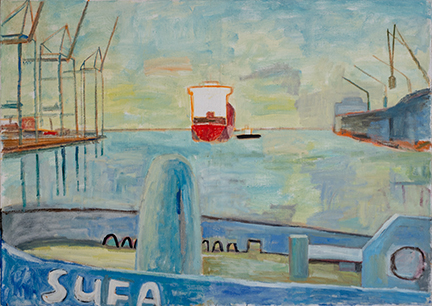"""Photo of Michael Kovner's oil painting """"Sufa."""" Image depicts a port scene with a portion of a boat named """"SUFA"""" in the foreground."""