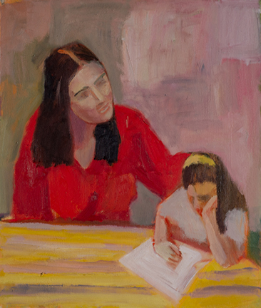 """Photo of Michael Kovner's oil painting """"Yardena and Sharon."""" Image depicts a woman and child at a table. The woman's hand is on the child's back."""
