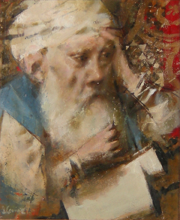 """Photo of Jack Levine's painting """"King Solomon."""" Image depicts a man with a white turban and beard, hand held up to his head."""