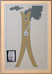 """Photo of Claes Oldenburg's serigraph """"Proposal for a Colossal Structure in the Form of a Clothespin - Compared to Brancusi's Kiss."""" Image depicts a draft of a central large clothespin statue with a photo of Brancusi's """"Kiss"""" sculpture off to the lower left side."""