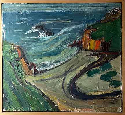 """Photograph of William Wheeler's painting """"Russian Gulch #1."""" Image depicts a view down from a bluff onto a beach, gulch, ocean convergence."""
