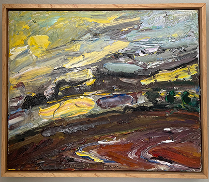 Photo of an untitled William Wheeler oil painting. Image depicts a fairly abstract depiction of a landscape with ground of dirt, a few far off trees and a sunny sky.