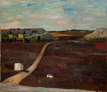 """Photo of Michael Kovner's painting """"Brown Field with a White Car."""" Image depicts a white vehicle in a brown field just off a dirt road by a white shed. There are hills with yellow structures in the middle ground and trees in the background."""
