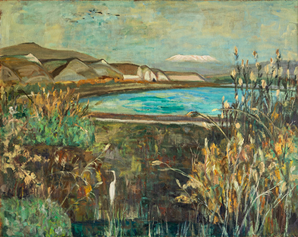 """Photo of Michael Kovner's painting """"Heron with Hermon."""" Image depicts a heron among plants near the edge of water. Rolling hills and a snow capped Mt. Hermon in the distance."""