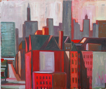 """Photo of Michael Kovner's painting """"PS1 in Red."""" Image depicts tightly packed urban building scene in reds, greys and whites."""