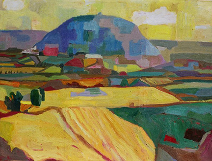 """Photo of Michael Kovner's painting """"Tabor in Spring."""" Image depicts Mt. Tabor in blues surrounded by agricultural fields in yellows, browns and greens."""