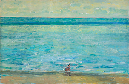 """Photo of Michael Kovner's painting """"The Big Sea."""" Image depicts a woman crouched on a beach in the foreground. A large area of blue and green ocean fills the middle ground and majority of the painting, with a cloudy sky in the background."""