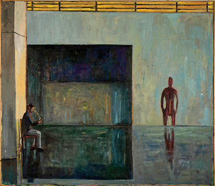 """Photo of Michael Kovner's painting """"The Museum Guard."""" Image depicts a man sitting in a chair looking at his phone in a large open gallery space with a figurative sculpture across the space."""