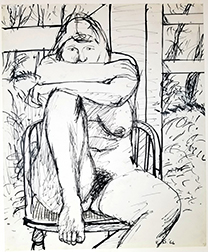 """Photo of Elmer Bischoff's drawing """"Woman in Captain Chair."""" Image depicts a nude female figure sitting in a chair with one leg up, chin on arms."""