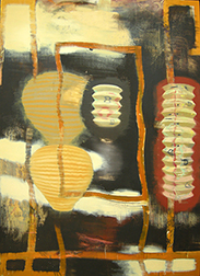 """Photo of Christopher Brown's painting """"Gate."""" Image depicts an abstract scene of a gateway with lanterns."""