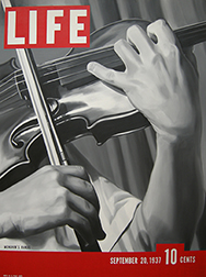 """Photo of Jeffrey Browning's painting """"Yehudi Menuhin's Hands."""" Image depicts a Life magazine cover with a close up of a violin being played. The violinist's hands are prominent."""