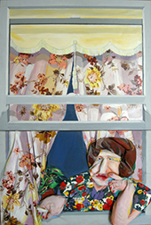 """Photo of Diana Krevksy's """"At the Window."""" Artwork is a sculptured painting depicting a woman looking out a window."""
