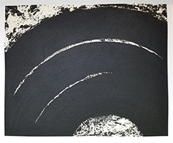"""Photo of Richard Serra's etching """"Paths and Edges #12."""" Image depicts a portion of three circle swaths of black on a mottled black and white background."""