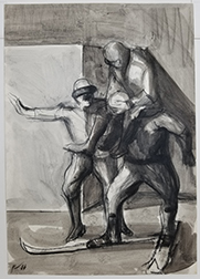 """Photo depicts James Weeks """"Comedians - The Explorers."""" Image depicts 3 figures: one sitting on the shoulders of another on skis and the third with an arm spread out and mouth open as if yelling."""
