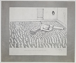 """Photo of William Wiley's drawing """"Cheap Mystery."""" Image depicts a giant revolver on the floor of a room with a busy rug."""