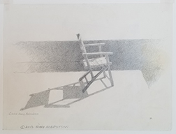 """Photo of Mary Robertson's drawing """"Chair."""" Image depicts a side view of a folding chair in the sunlight with a shadow of the chair behind it."""