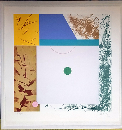 """Photo of Hassel Smith's lithograph """"Magnolia I."""" Image depicts an abstract work with blocks of color and design. The largest and central block has a small green circle surrounded by a light grey square."""