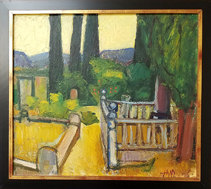 """Photo of Hassel Smith's painting """"Sonoma Graveyard."""" Image depicts graveyard fencing and headstones surrounded by trees and bushes."""