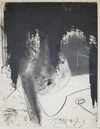 """Photo of Hassel Smith's drawing """"Untitled (black top abstract)."""" Image depicts lines, squiggles, curves and smears of grey and light black over the lower 3/4s. The top is dark black with 3 smears running lower down."""