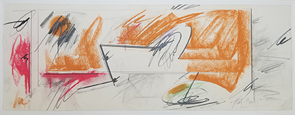 """Photo of Hassel Smith's drawing """"Untitled (brown and red."""" Image depicts an absract work with red and brown pastel areas and graphite lines and squiggles."""